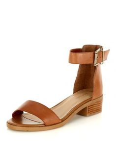 Tan Leather Ankle Strap Mini Block Heel Sandals  | New Look