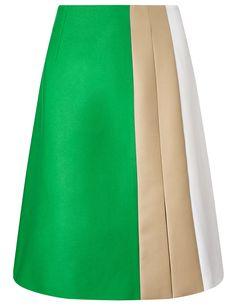 Green Wool A-Line Marisa Skirt | Jonathan Saunders | Avenue32