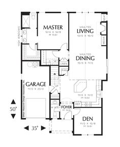 Main Floor Plan of Mascord Plan 21105 - The Sherwood - European Cottage Plan with High Ceilings