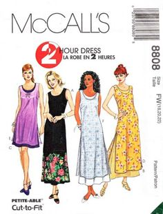 McCalls Sewing Pattern 8808 Misses Size 18-22 Two Hour Dress Overdress Length Options