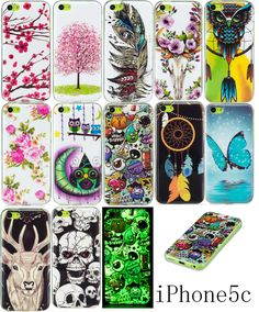 Luminous Phone Cases For Apple iPhone 5C Soft TPU Silicon IMD Glossy Back Covers For iPhone5C 5C 4.0 inch Art Patterns Back Capa