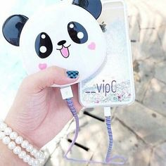 Phone Accesories, Tech Accessories, Electronics Gadgets, Tech Gadgets, Iphone Charger, Iphone Cases, Cute Portable Charger, Batterie Portable, Panda Art