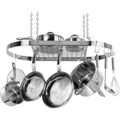 I need this!! My pot & pan cabinet is so unorgazined!! Range Kleen Stainless Steel Oval Hanging Pot Rack