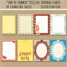 """Free """"End of Summer"""" Journal Cards from Changing Vases"""