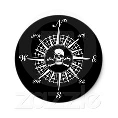 Compass Rose Skull Sticker (white on black) from Zazzle