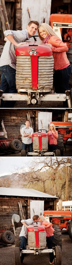 Red tractor this would so be my sister!- #engagement photos #farm