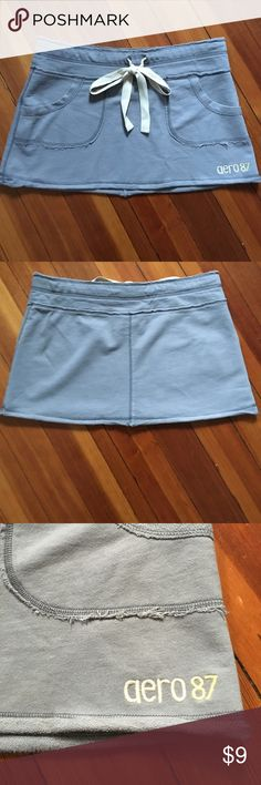 """🔴2for$5 Sale! Aeropostale Skirt Gray skirt with tan tie-waist. Length is 12"""". Waistband is 16"""" across laying flat but has a little more stretch beyond that. 100% cotton. Aeropostale Skirts Mini"""
