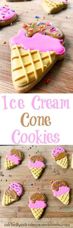 Ice Cream Cone Cookies | micheleandcodecoratedsweets.com