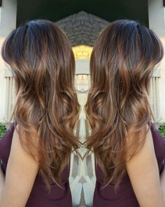 Fall hair color with beautiful rose gold highlights! Rose gold hair is beautiful for fall! Chocolate base, balayage color melt. Instagram: hair_by_tflogreen #balayage #haircolor #rosegold #highlights