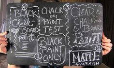 The difference between chalkboard paint, black acrylic paint, and clear chalkboard paint.