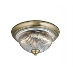 Flush Fitting Light for Low Ceilings Circular Antique Brass & Glass