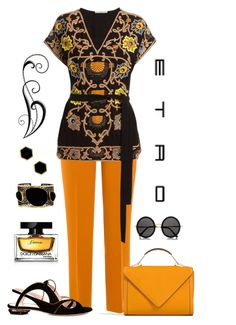 """""""Etro Embroidered Tie Blouse Look"""" by romaboots-1 ❤ liked on Polyvore featuring Etro, Nicholas Kirkwood, Mela Artisans, Mallary Marks, The Row, Zara and Dolce&Gabbana"""