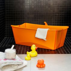 "Project Nursery - Stokke Flexi Bath Orange ""Big enough for children up to four years old, the Flexi Bath has plenty of space to make bath time fun and comfortable for older babies or toddlers but small enough to keep baby right at your fingertips."" via @projectnursery"