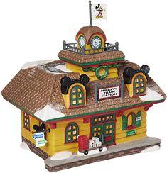 Disney Christmas Village, Department 56 Christmas Village, Disney Christmas Decorations, Christmas Village Display, Mickey Christmas, Disney Home Decor, Mickey Mouse Train, Light Building, Modern Disney