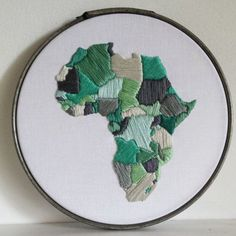 Africa Embroidery Pattern / Africa Outline Map / by LovelyMesses Hand Embroidery Stitches, Modern Embroidery, Embroidery Hoop Art, Cross Stitch Embroidery, Embroidery Designs, Art Textile, Thread Art, Map Art, Stencil
