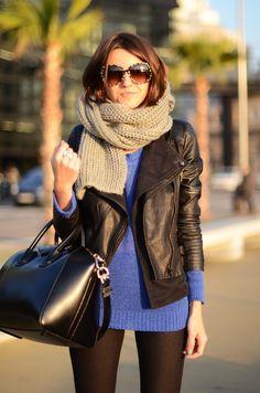 California Winter Style women fashion style clothing outfit apparel blue sweater jacket scarf beige pants black leggings handbag beautiful sunglasses
