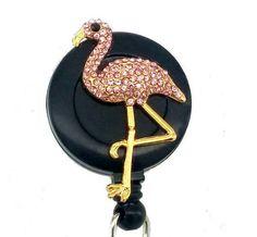 Badge Reel  Pink Flamingo ID Badge Reel  SassyBadge