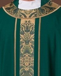Orphreys of blue-green and gold. English damask accentuated with small gold galloon. Liturgical vestments for priest or deacon created by The Holy Rood Guild. Green And Gold, Blue Green, Priest, Custom Items, Damask, Clothes, Outfits, Clothing, Duck Egg Blue