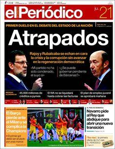 Los Titulares y Portadas de Noticias Destacadas Españolas del 21 de Febrero de 2013 del Diario El Periódico ¿Que le parecio esta Portada de este Diario Español?