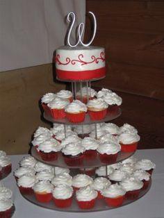 Red Pearl Wedding Cupcake Tree