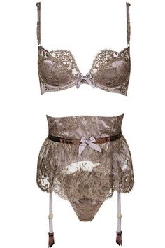"Agent Provocateur Soiree collection -  ""Gardinia"" bra, waspie, and thong in mocha"