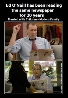 How many of you used to watch Married with children?and how many of you currently watch Modern Family? Have you noticed this? Ha!