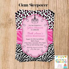 GLAM SLEEPOVER invitation  YOU Print  can by PrettyPartyCreations, $11.50