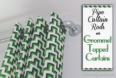 Grommet topped curtains with pipe curtain rods.  Using jigsaw malachite #hgtvho memagic
