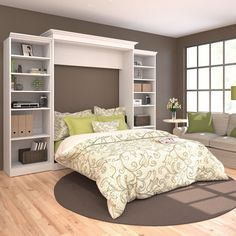 Features:  Frame Material: -Manufactured wood.  Bed Size: -Queen.  Bookcase: -Yes.  -Kit comprises the queen wall bed and 2 storage units.  -All surfaces feature a durable scratch, stain and burn resi