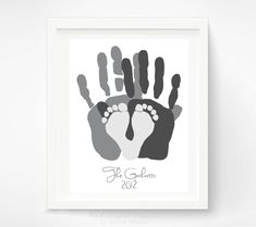 Personalized Family Portrait - Gift for New Dad - First Fathers Day Gift - Baby Footprint Hand Print Art - Unique Family Art. $46.00, via Etsy.
