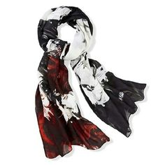 Designer abstract drip and smoke scarf Large, EUC (Worn once) . Black, cherry and smoke white. Inspired by the Spring '14 collection. Jean-Pierre Braganza Accessories Scarves & Wraps