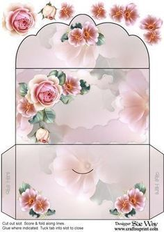 Creamy Pink Roses Money Wallet Printable Gift Box Template on Craftsuprint designed by Sue Way - Printable Box, Printables, Money Envelopes, Diy Envelope, Rosa Rose, Diy Gift Box, Wedding Gifts, Wedding Favours, Trendy Wedding