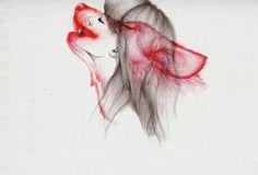 animal, animals, black and white, drawing, girl