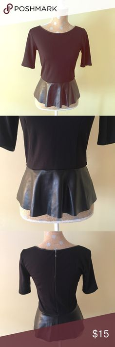Black Top with Peplum Black top with zipper back and peplum Willi Smith Tops Blouses