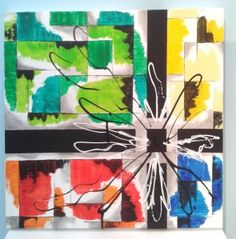 Abstract flower on a colorful background. 50x50 cm 3D-canvas.