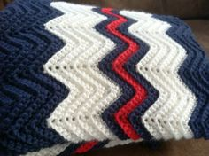 crochet ripple afghan in navy blue white by KozyAfghansbyPhyllis, $60.00