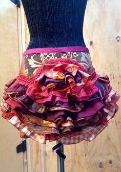 Upcycled Ruffle Bustle Copper Scarlet Gold Burning by KrakenWhip, $200.00, victorian, edwardian, cosplay, costume, burning man, steampunk, rococco punk