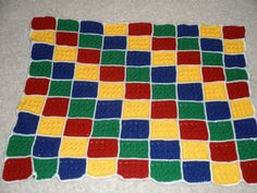 Hand Crochet Lego Block Baby Blanket in Primary Colors. $45.00, via Etsy.