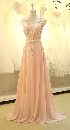 Pink Chiffon Floor Length Prom Dress