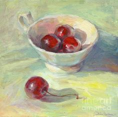 Colorful Sunny Day Cherries in a cup still life painting by Svetlana Novikova, www.SvetlanaNovikova.com
