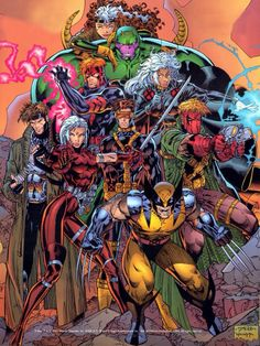 X-Men (Rogue, Storm, Gambit, Cyclops, Wolverine) & Wildcats (Maul, Spartan, Zealot, Grifter) by Jim Lee