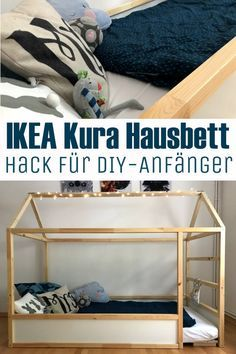 Ein tolles ebenerdiges DIY Hausbett im Montessori Stil zum selber Raus- und Reinklettern. Dank IKEA Kura Bett könnt ihr mit wenig Geld auch ohne große Handwerkerkenntnisse euer eigenes Hausbett bauen. Ich zeige Schritt für Schritt inklusive Einkaufsliste unseren IKEA Kura Hausbett Hack. #IKEA #Kura #IKEAKura #Hack #IKEAHack #Hausbett #selbermachen #günstig #einfach #DIY