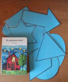 Bij het boek de geheime brief de afgebeelde vormen in de juiste volgorde van het verhaal laten neerleggen. Benoemen van de woorden.
