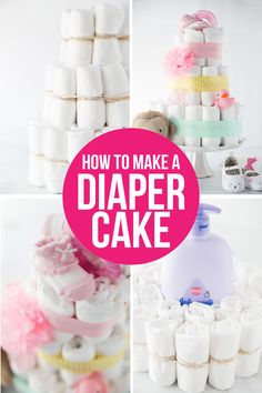 A simple DIY diaper cake tutorial showing you in photos and video how to make a diaper cake as well as other great diaper cake ideas! Learn how to make an easy diaper cake in just a few minutes. Diaper Cakes Tutorial, Diaper Cake Instructions, Diy Diaper Cake, Cake Tutorial, Diy Tutorial, Diy Diapers, Baby Shower Diapers, Cloth Diapers, Baby Shower Parties