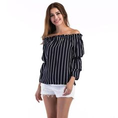 0266c6caf7e Women Long Sleeve Blouse 2017 Spring Autumn Sexy Off Shoulder Striped  Blusas Ladies Loose Casual Tops Shirts Blouses Size Chic