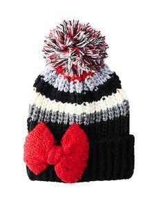 8c28fb9a612bd6 Betsey Johnson · BOWLICIOUS STRIPE CUFF HAT Pom Pom Hat, Red Hats, New  Fashion, Trendy Fashion