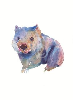 Wombat    Print of an original watercolor painting  Portrait format    Size 8x10 inches    Printed on watercolor paper the same as the original painting,  using the latest Epson ink K3 technology    The copyright sign wont appear on print.    Shipped in a protective sleeve and card mailer.