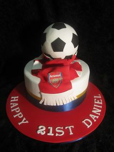Arsenal Soccer Cake by Carrie's Creative Cakes, via Flickr