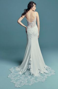 Currently trending: embroidered lace, pearl embellishments, and form fitting silhouettes. Consider this crepe sheath wedding dress and all its modern charms. Bridal Lace, Bridal Style, Bridal Gowns, Wedding Gowns, Crepe Wedding Dress, Maggie Sottero Wedding Dresses, Maggie Sottero Jade, Leicester, Dress Out
