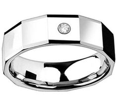 Tungsten Carbide Men's 8mm Octagon Wedding Band Ring. With Lab Created Diamond.